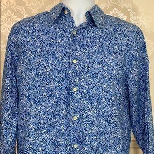 Men's Michael Kors Blue White Printed Linen Shirt
